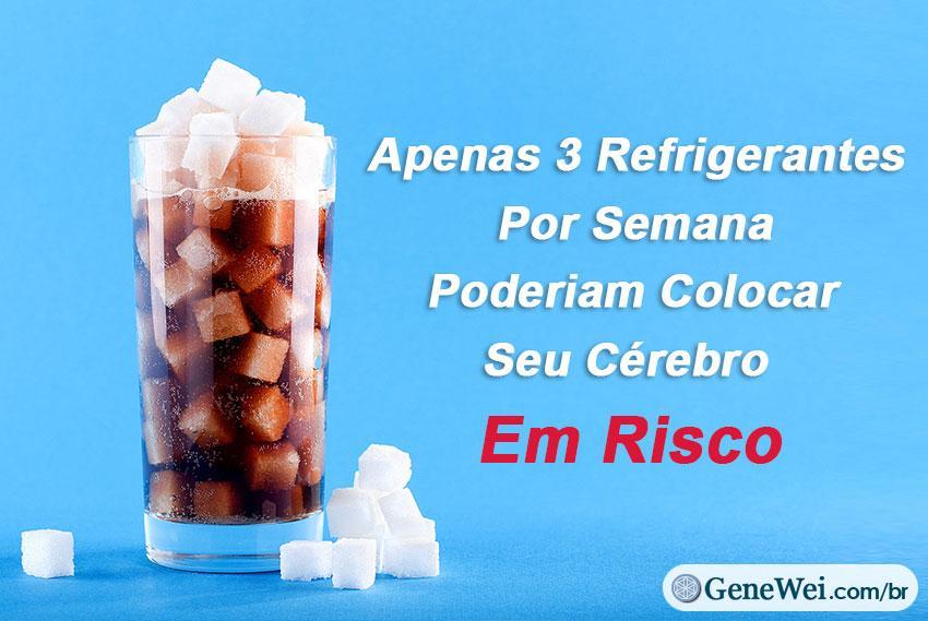"""Imagem de um refrigerante cheio de cubos de açúcar, com legenda """"Apenas 3 Refrigerantes Por Semana Poderiam Colocar Seu Cérebro Em Risco"""" GeneWei.com"""