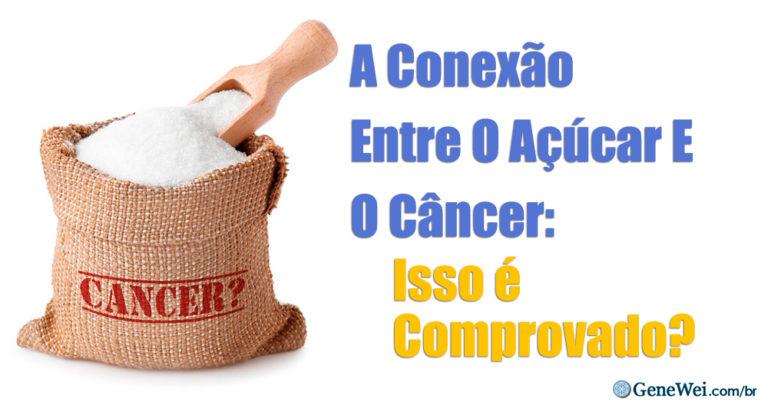 Imagem de um saco de açúcar com um rótulo que diz câncer. A legenda diz A Conexão Entre O Açúcar E O Câncer: Isso é Comprovado?