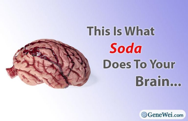 "Picture of a brain with caption ""This Is What Soda Does To Your Brain (New Study)"" GeneWei.com"